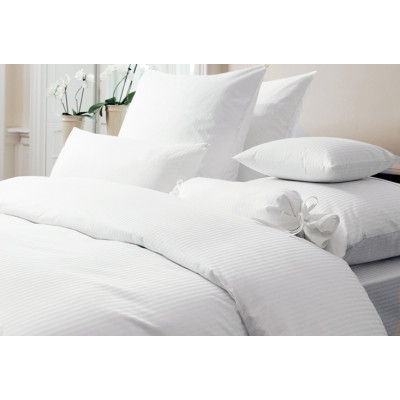 CHRISTMAS SPECIAL - White Percale Satin Stripe 350TC Fitted Sheets